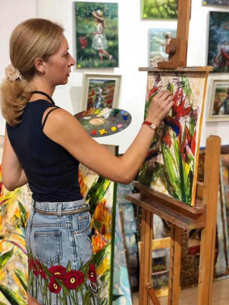 Workshop oil sessions «Strelitzia» with Diana Malivani at Dreams Gallery, Limassol, Cyprus (2018)