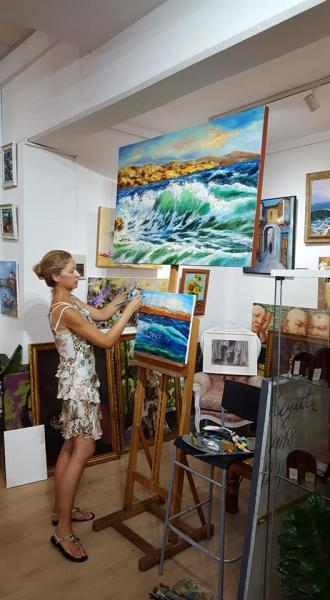 Workshop oil sessions «The Sea» with Diana Malivani at Dreams Gallery, Limassol, Cyprus (2018)