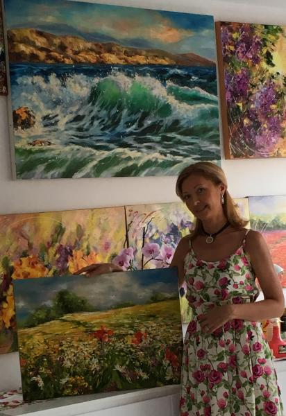 Diana Malivani among her artworks, in her Artist's Studio, in Limassol, Cyprus