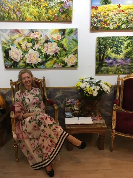 Diana Malivani at her Solo Art Exhibition, The Scent of Thousands of Petals, at Dreams Gallery, Limassol, Cyprus (October 2018)