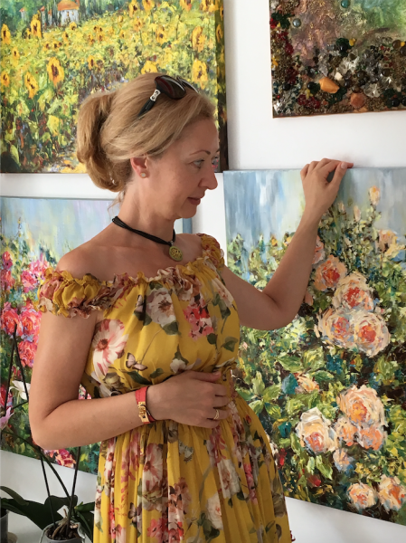 Diana Malivani among her artworks, in her Artist's Studio in Limassol, Cyprus